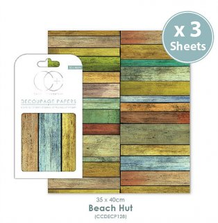 3er Set Decoupage Papier Beach Hut 35x40 cm